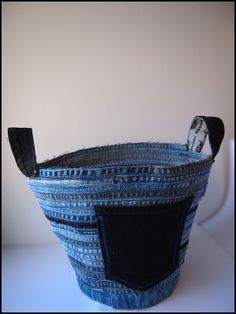 Recycled Denim Coil Basket - 10 New Things To Make From Old Jeans | Tips For Women - Part 4