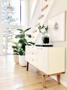 Plant and console We love how our Modern Media Console fits into entry way! What a bright and inviting space ✨⠀⠀⠀⠀⠀⠀⠀⠀⠀⠀⠀⠀⠀⠀⠀⠀⠀⠀⠀⠀⠀⠀⠀⠀⠀⠀⠀ Luxury Interior Design, Interior Exterior, Home Interior, Home Living, Living Room Decor, Living Spaces, Cosy Home, Ideas Hogar, My New Room