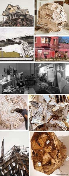 """Clockwise from top left corner: Collapse XVII, 42"""" x 33"""", Collage, Charcoal, Pastel, Acrylic, Graphite on  Wood, Private Collection; Sculpture in progress from Pittsburgh Center for the Arts 2015 Emerging  Artist of the Year Exhibition (via @fragmentation); Building that appears abandoned; Seth Clark in his Studio; Closeup of Clark's work (via @fragmentation); Installation that tunnels through the wall from Pittsburgh Center for the  Arts 2015 Emerging Artist of the Year Exhibition (via @..."""