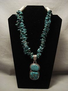 MUSEUM-QUALITY-034-034-HUGE-SILVER-TUBE-034-034-GREEN-SPIDERWEB-TURQUOISE-NECKLACE
