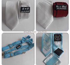 Gravatas pros padrinhos, com etiqueta personalizada do casal