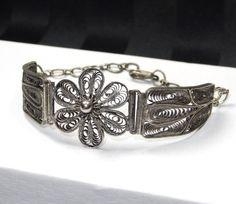 Antique Silver Filigree Bracelet Large by SellitAgainVintage, $75.00