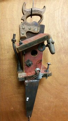 Old saw birdhouse by Greg Theer.