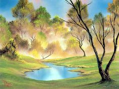 Peaceful Landscape Paintings by Bob Ross  - Bob Ross  Landscape Oil Paintings : Quiet Pond  3
