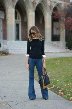 ClioMakeUp-pantaloni-zampa-jeans-flared-maglione