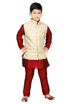 JBN Creation Boys Maroon Cotton Silk Kurta Pyjama with Matka Jacket - http://www.zazva.com/shop/kids-clothing-accesories/jbn-creation-boys-maroon-cotton-silk-kurta-pyjama-matka-jacket/ Material: Cotton silk and Matka silk Fit type: Regular fit Occasion: Casual, Festive, Ceremony