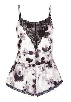 Clothing at Tesco   F&F Signature Floral Watercolour Print Satin Teddy > nightwear > Women's nightwear > Women