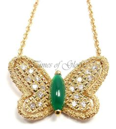 RARE VAN CLEEF  ARPELS VCA Diamond Alhambra Butterfly Gold Pendant Necklace
