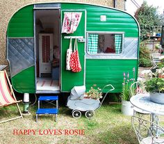 "Vintage Camper ""craft room""...when you run out of room in the house."