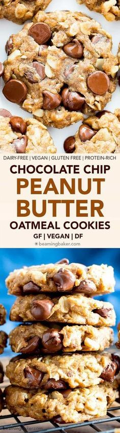 Easy Gluten Free Peanut Butter Chocolate Chip Oatmeal Cookies (V, GF): an irresistible recipe for lightly crispy, perfectly chewy peanut butter oatmeal cookies. #Vegan #GlutenFree #DairyFree #PeanutButter #Cookies | Recipe on BeamingBaker.com