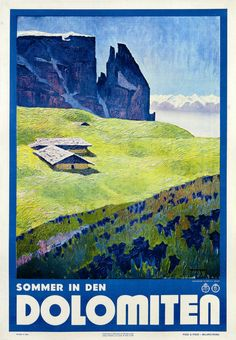 Vintage Travel Poster, The Dolomites, North Eastern Italy
