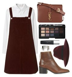 """""""BURGUNDY N BROWN"""" by laurabustard ❤ liked on Polyvore featuring AR, Topshop, Yves Saint Laurent, NARS Cosmetics and Revlon"""