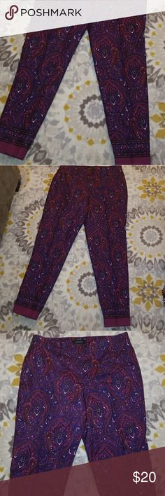 """Talbots Purple Damask Print Pants Talbots signature purple damask print pants in a size 12. Inseam 27"""". Ankle length. Excellent condition. Talbots Pants Ankle & Cropped"""
