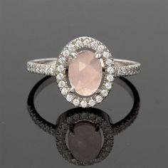 Vintage Diamond Rose Quartz Engagement Ring in by JulietAndOliver, $740.00
