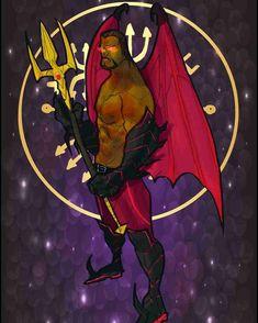 "Exu Morcego (""Bat Eshu"") the sorcerer, from Vudu Tarot by Monroe Rodriguez Singh (USA) Brazilian Martial Arts, Man And Dog, Deities, Tarot, Concept Art, Witch, African, Symbols, Painting"