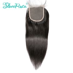 Slove Rosa Lace Closure Straight Human Hair Brazilian Remy Hair 4x4 Middle Brown Free Part Bleached Knots With Baby Hair