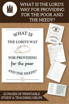 """What is the Lord's way for providing for the poor and the needy?"" This is an awesome teaching package for November LDS Come Follow Me lessons! #ldsyoungwomen #ldsteachinghelps #comefollowme"