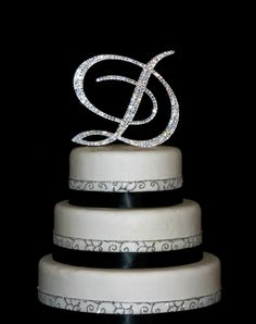 Custom - 5 Inch Monogram Cake Topper Decorated with Swarovski Crystals  in Any Letter A B C D E F G H I J K L M N O P Q R S T U V W X Y Z. $50.00, via Etsy.