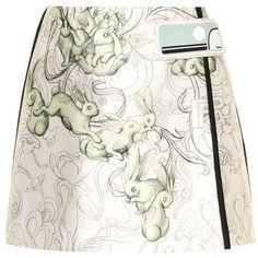 Prada Printed Silk-Blend Miniskirt ($2,270) ❤ liked on Polyvore featuring skirts, mini skirts, white, short white skirt, short mini skirts, prada, short miniskirt and mini skirt