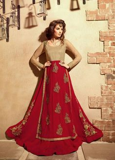 Buy Red and beige color georgette and net  party wear anarkali suit at kollybollyethnics with free worldwide shipping.