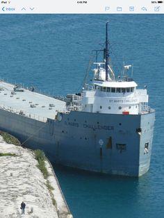 Challenger tied up on the break wall at Charlevoix Lake Boats, Great Lakes Ships, Break Wall, Merchant Marine, Rail Car, Lake Huron, Lake Erie, Lake Superior, Lighthouses