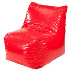 Sectional Wet Look Vinyl Bean Bag Chair Red - Gold Medal, Really Red