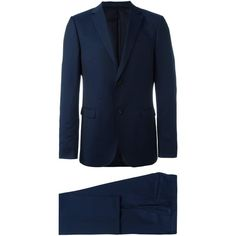 Z Zegna pindot two-piece suit (€1.035) ❤ liked on Polyvore featuring men's fashion, men's clothing, men's suits, blue, slim fit mens clothing, mens 2 piece suits, mens blue slim fit suit, mens blue suit and mens slim suits