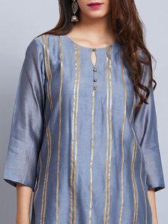 Buy Sea Blue Chanderi Kurta with Cotton Palazzo and Pink Mulmul Dupatta- Set of . Salwar Designs, Simple Kurti Designs, Kurta Designs Women, Kurti Designs Party Wear, Stylish Dress Designs, Designs For Dresses, Simple Pakistani Dresses, Pakistani Fashion Casual, Pakistani Dress Design