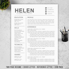 modern resume template cover letter reference letter for word diy printable professional and creative resume design mac or pc