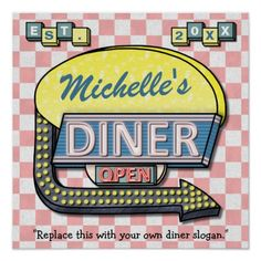 Retro Diner Sign Poster by FancyCelebration on Zazzle :) Add your name, slogan and established year to this square #diner wall poster.
