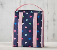 ff177ebd41e Cold Pack Lunch Bag, Mackenzie Navy Multi Heart. Reusable Lunch Bags