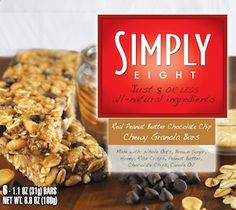 Simple Snack Food: Simply Eight : Real Peanut Butter Chocolate Chip Chewy Granola Bars