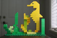 Story Time; DIY a Duplo Seahorse in Seagrass. As Project to use for your Under The Sea Theme. Designer Marie Artanag, shows you in Clear View Pictures, how you can build this scene! She is amazing with Duplo! Building amazing things.....