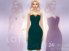 A new dress design that comes in 24 colors! Available for sims aged teen to elder and has its own thumbnail. Found in TSR Category 'Sims 4 Female Everyday'