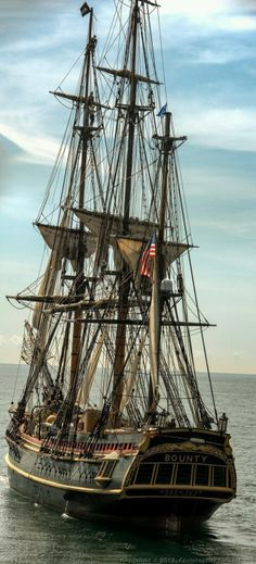 """Tall Ship HMS Bounty - built for the movie, """"Mutiny on The Bounty"""" - lost in Super Storm Sandy Hms Bounty, Yacht Design, Old Sailing Ships, Sailing Boat, Wooden Ship, Yacht Boat, Sail Away, Wooden Boats, Tall Ships"""