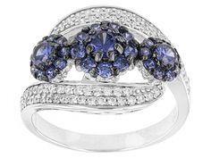 Bella Luce (R) 2.55ctw Tanzanite And White Diamond Simulants Rhodium Over Silver Ring