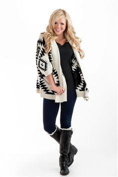 LOVEEE this Aztec design comfy sweater!! Looks so comfy and warm for this fall, but still cute so you're not wearing a bulky jacket!