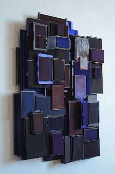 Lynn Aldrich  Out of Ink in the Dark, 2012  Ink, ink pads, ink cartridges, blotting paper, and carbon paper  27 x 20 x 4 inches