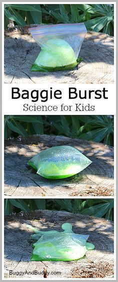 Cool Science for Kids: Baggie Burst- Science activity for kids using baking soda and vinegar! Perfect outdoor STEM fun! ~ BuggyandBuddy.com