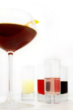 The Daisy Cutter  ¾ ounce Zucca Rabarbaro Amaro Liqueur ¾ ounce Aperol ¾ ounce Art in the Age Rhuby Rhubarb Liqueur ¾ ounce lemon juice