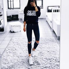 Instagram media kathiischr - So in love with my JUST DO NOTHING sweater from @rad #ootd#new#sweater#top#loveit#best#jeans#topshop#all#blue#look#today#white#sneakers#reebok#outfit#selfie#body#fit#style#fashion#outfitoftheday#lookoftheday#girl#selfietime#fitfam