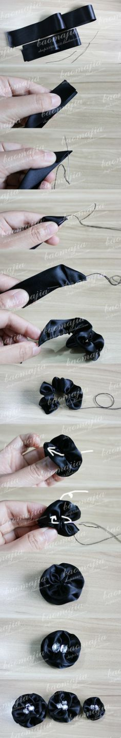 Gossip Girl hair bands making (a) flower parts: the smallest flower is 3.8cm wide ribbon 25CM. Do two layers. The middle of the flower, is ...