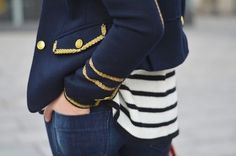 military jacket pic from Atlantic Pacific # This look can be diy-ed with miliatry inspired patches or haberdashery trims made adhesive with heat and bond.