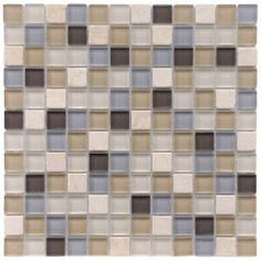 SomerTile 12x12-in Reflections Square 1-in River Glass/Stone Mosaic Tile (Pack o