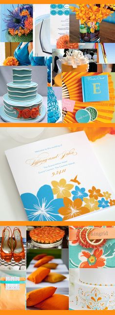 Turquoise & Orange Wedding Colors, love the dress color and centerpieces