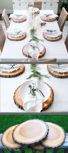 Rustic Wood Slice Plate Chargers!  Great idea!  #tabledecor #thanksgiving #rustic #woodland #homedecor #interiors #holidays #ad
