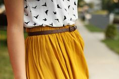 Mustard skirt, bird print, blouse