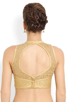 Soch Gold-Toned Tissue Net Yoke Saree Blouse - SAZR BLZ 20013