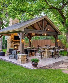 Backyard porch design outdoor ideas for 2019 Backyard Pavilion, Outdoor Pavilion, Outdoor Gazebos, Backyard Gazebo, Backyard Patio Designs, Pergola Patio, Outdoor Rooms, Backyard Landscaping, Outdoor Decor