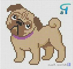 Cross Stitch Sampler Patterns, Cross Stitch Charts, Cross Stitch Designs, Cross Stitching, Cross Stitch Embroidery, Necktie Quilt, Pug Cross, Pixel Drawing, Cross Stitch Christmas Stockings
